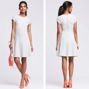 Banana Republic White Jacquard Fit and Flare Dress
